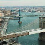 Vista de pájaro de varios puentes colgantes de Nueva York